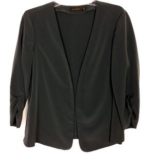 The Limited Gray Draped Open Ruched Cuffs Blazer